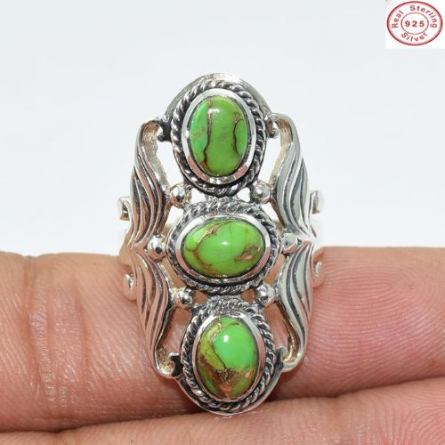 A #beautiful and #handmade 925 Sterling Silver Green #Copper #Turquoise 3 #Gems #Ring Jewellery S 7  for more, visit: http://www.akratijewelsinc.com