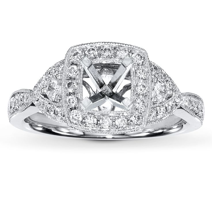 I Want This With A Princess Cut Center Stone Jared   Diamond Ring Setting  Ct Tw Round Cut White Gold