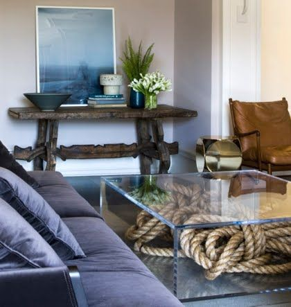 Amazing coffee table!!!: Decor, Rope Display, Coffee Tables, Interior, Beach House, Console Table, Living Room, Ropes