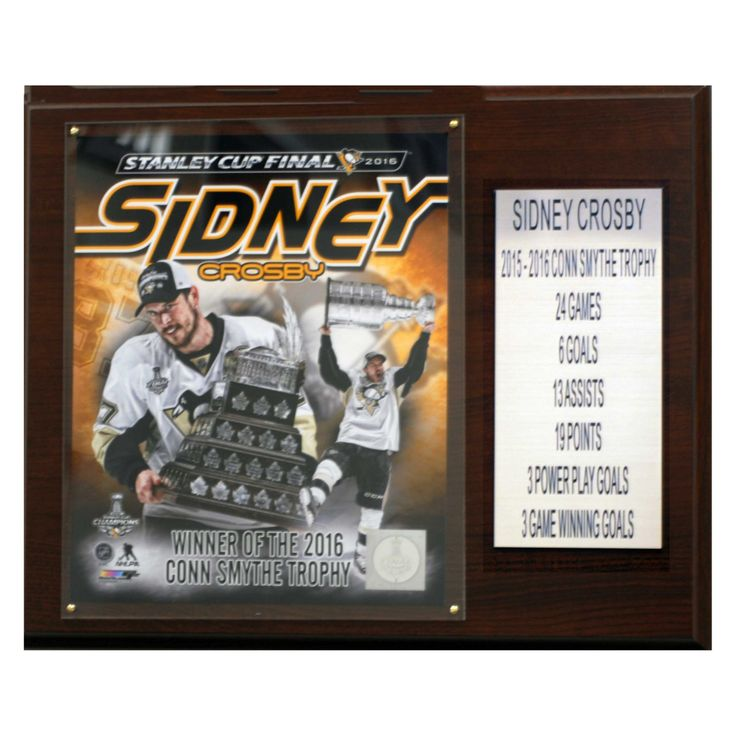 C & I Collectables NHL 12 x 15 in. Sidney Crosby with Stanley Cup Pittsburgh Penguins 2015-16 Conn Smythe Trophy Plaque - 1215CROSSCS16