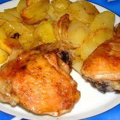 Sült csirkecomb tepsis burgonyával recept
