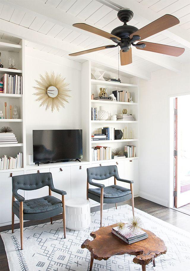Modern living room decor in white beige