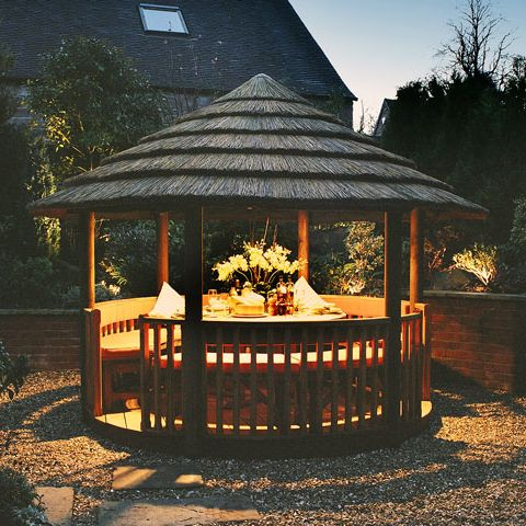 Our Breeze House garden buildings have various customisable options including lighting, heaters, canvas panels and more! View our full range online. #garden #gazebo #evening #lighting #perfect #gardenretreat