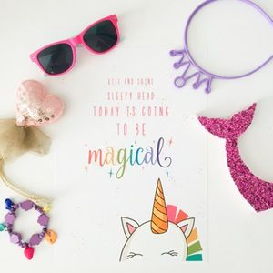 Every child should wake up to the promise of a magical day ahead, and with a rainbow unicorn to watch over them. A true friend to keep your little one company.  The perfect print for the unicorn lover in your house!