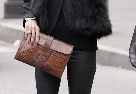 Touch of class!…luxury leather clutch bag…real Crocodile Alligator Caiman envelope clutch sets off this faux fur and black skinny jeans ensemble with elegance, buy this online on sale at Salas-LLC.com