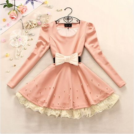 Bow Beaded Lace Long-Sleeved Dress