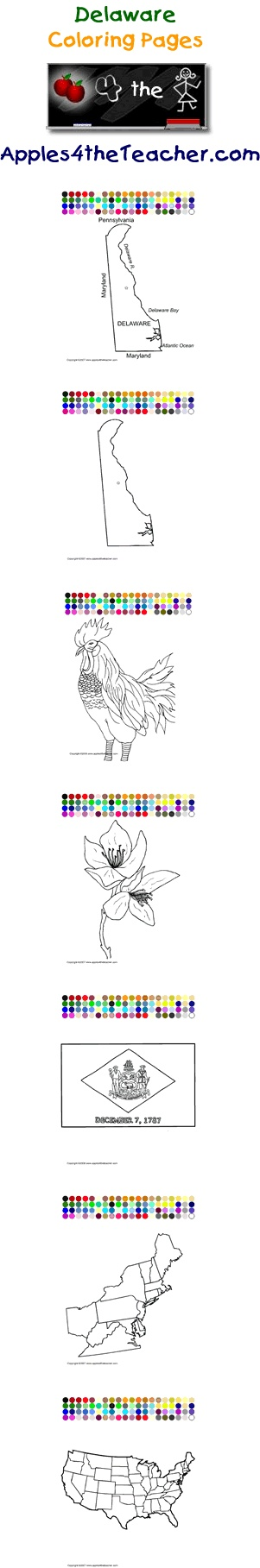 Printable interactive U.S. State coloring pages, Delaware coloring pages for kids.