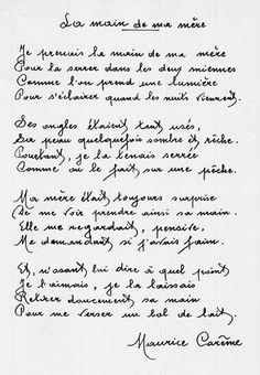La main de ma mère - Maurice Carême