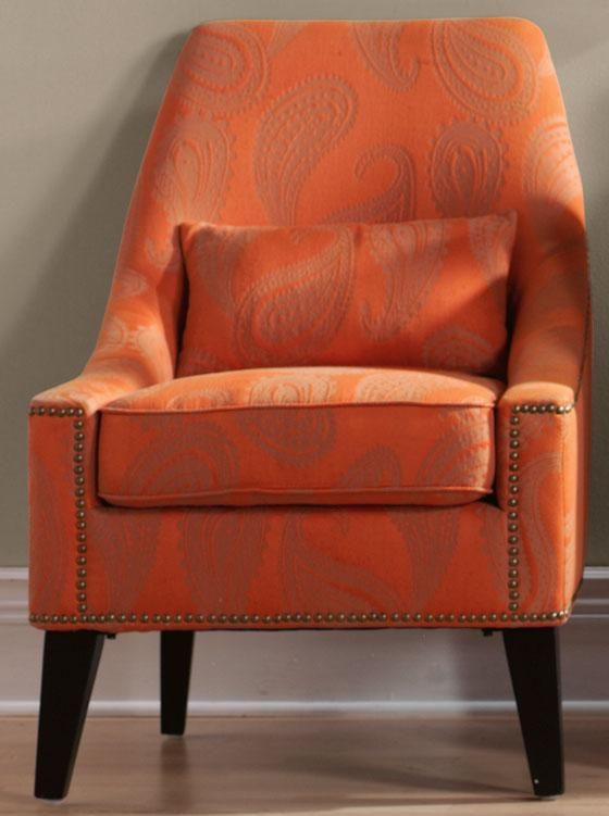 paisley accent chair orange and grey or pale lavender