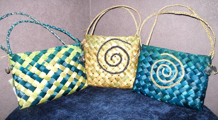 Wonderful 2 corner flax woven handbags - creations of Forever Flax