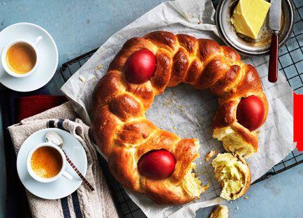 Australian Gourmet Traveller recipe for Greek Easter bread (Tsoureki).
