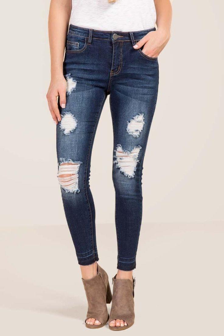 Harper Destructed Release Hem Jeans