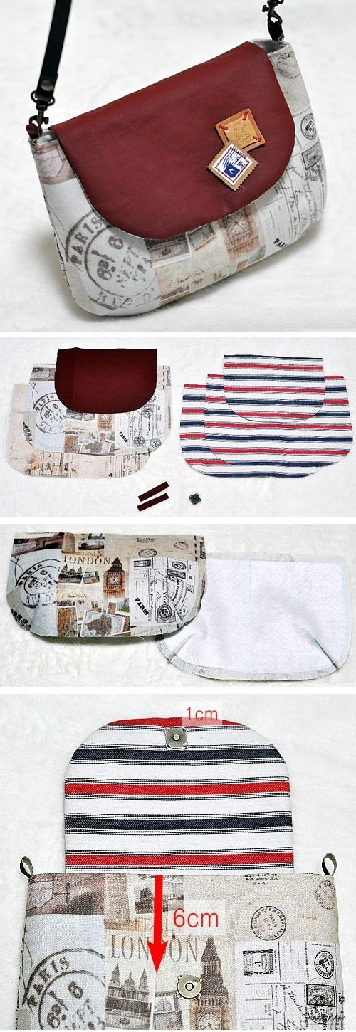 Purse Bag with Flap DIY Tutorial in Pictures. http://www.handmadiya.com/2015/10/bag-with-flap-tutorial.html: