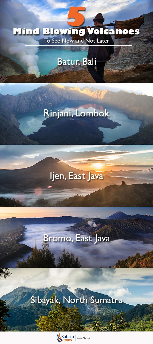 5 awe-inspiring volcanoes in Indonesia for your next adventure.  Read more and go to our blog:   Don't forget to follow us: @buffalo_tours on Twitter | Buffalo.Tours.Travel on Facebook