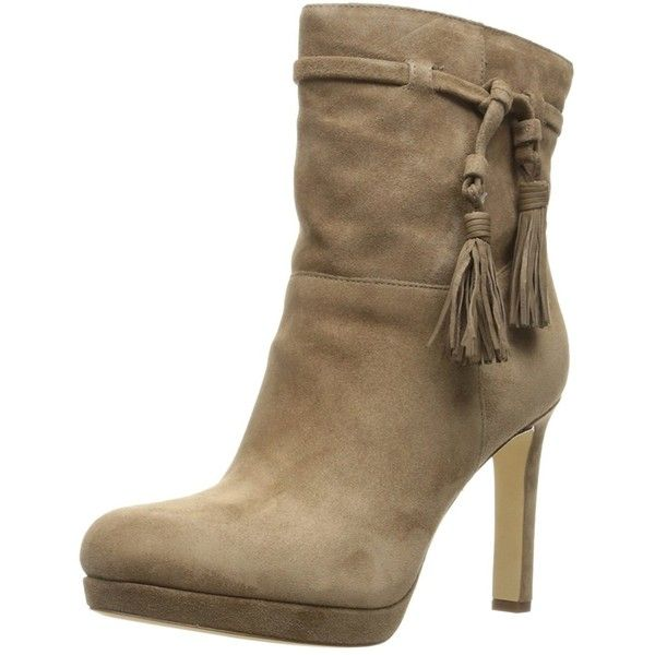Via Spiga Women's Bristol Ankle Bootie ($74) ❤ liked on Polyvore featuring shoes, boots, ankle booties, brown, leather ankle booties, brown leather booties, leather ankle boots, short brown boots and leather booties