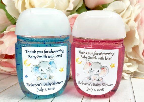 Elephant Baby Shower Favor Labels Hand Sanitizer Labels Hand