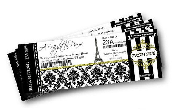 Prom Invitation - Paris Theme - A Night in Paris Homecoming or Prom Invitation black and gold classy boarding pass invitation ticket