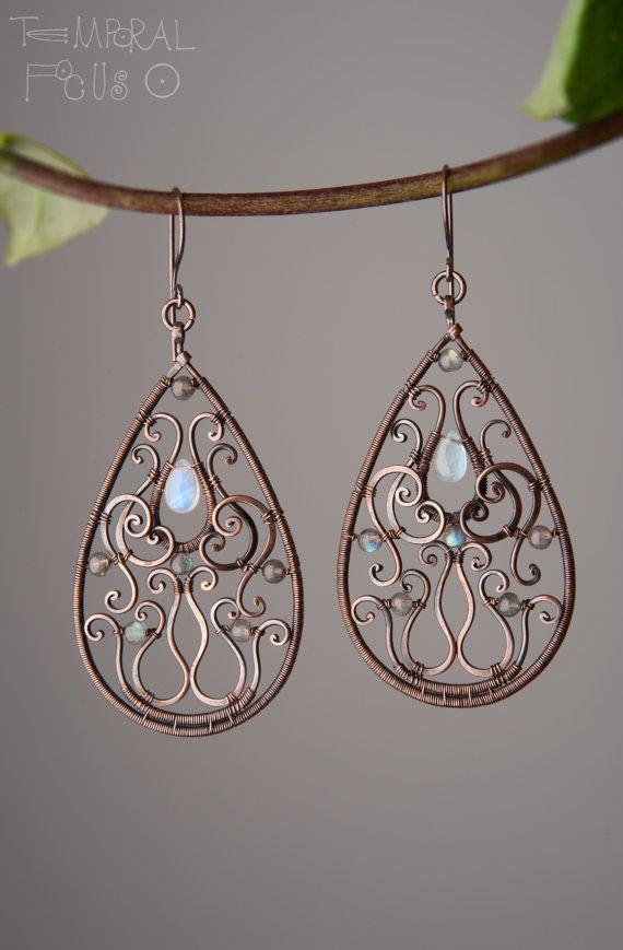 Ornamental-Oriental drop earrings. Oxidized by TemporalFocus
