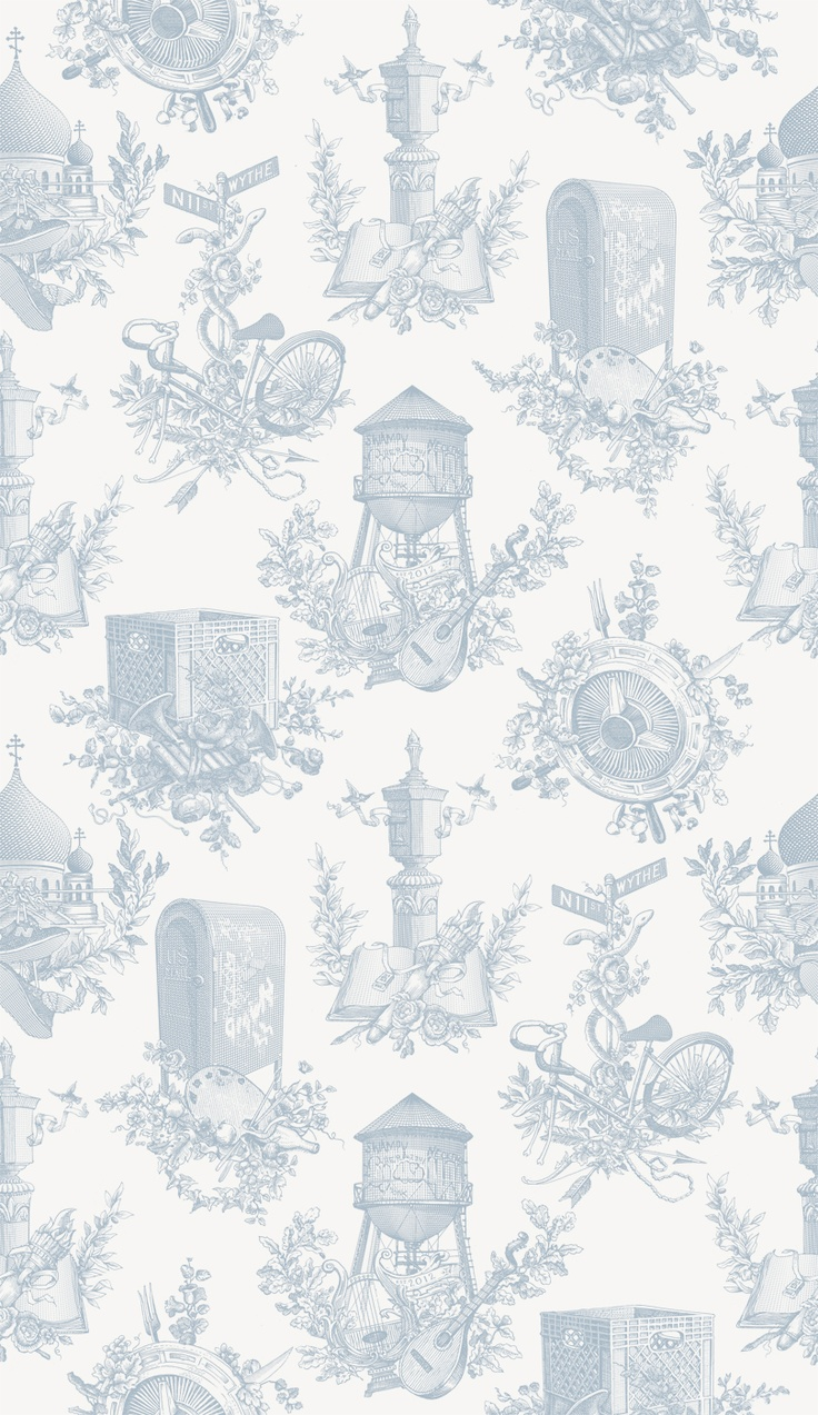 Wythe Toile: Finbourn FlatToile 54X27, Finbourn Flats, Flavored Paper, Wythe Toile, Fab Com, Blue Gray Wallpapers, 54X27 Blue, Toile Wallpapers, Custom Wallpapers