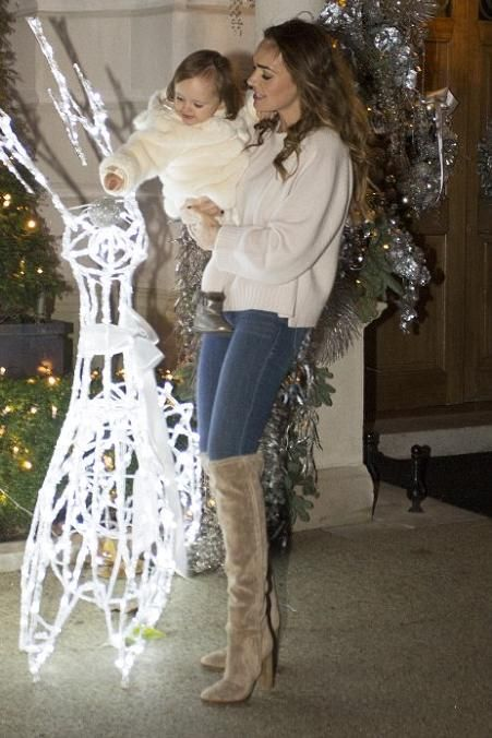 Tamara Ecclestone wearing Gianvito Rossi Suede Over-the-Knee Boots and Inhabit Luxe Cashmere Boxy Crew Neck Sweater in Dream