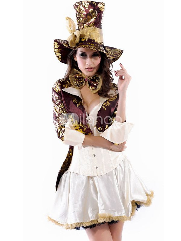 Purple Gold White Spandex Sexy Adult Pirate Costume