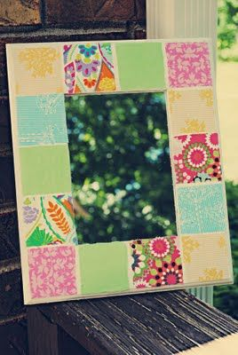 Anthropologie Inspired Mirror - paint, then modge podge fabric scraps