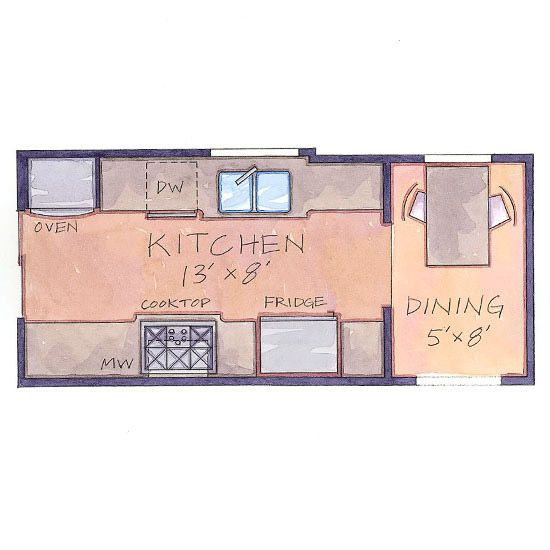 Our favorite small kitchens that live large kitchen for Galley kitchen floor plans