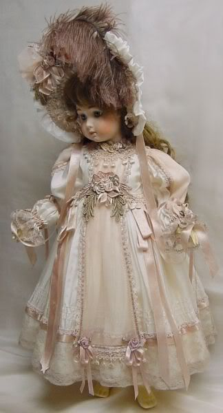 """Doll Dress for 24"""" white w/ pink"""