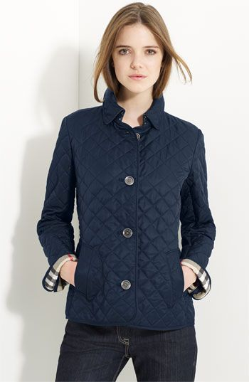 christmas wish list burberry brit quilted short jacket. i can't decide if navy, tan, or black would be better