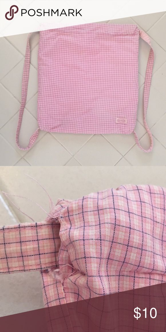 Old Navy Backpack 14in x 13in  Pink, white, and blue check pattern  Drawstring Backpack  Some fraying on one side as pictured  Inside has some pen marks Old Navy Bags Backpacks