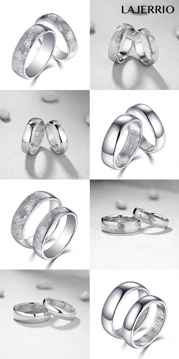 9a0f697d4abda Lajerrio S925 Silver Fingerprint Promise Rings for Couples 901010 ...