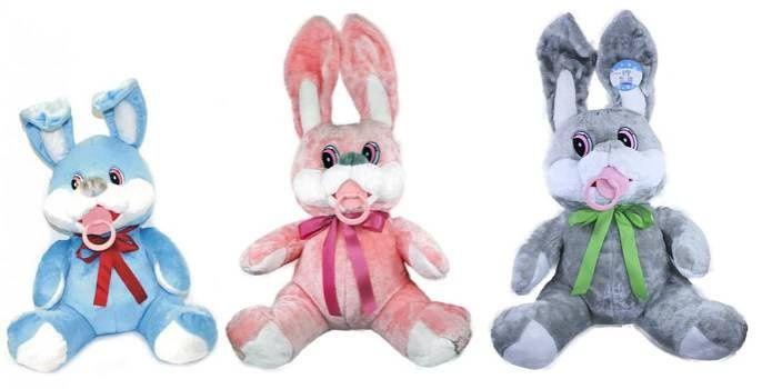 plyšový zajíc s dudlíkem 50cm - Velké plyšové hračky - Plyšové hračky - Kategorie