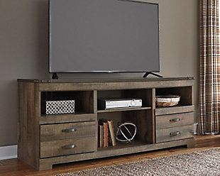 "Trinell 63"" TV Stand on sale at Ashley Furniture for $300.  Could paint it!"