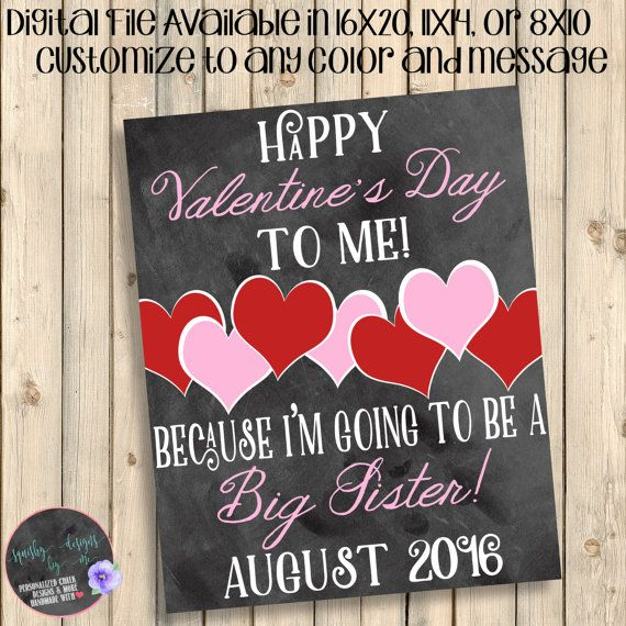 Happy Valentines To Me, I'm Going To Be A Big Sister, I'm Being Promoted to Big Sister Valentines Pregnancy Announcement Reveal, Digital