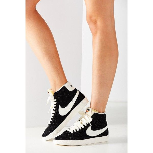 Nike Womens Blazer Mid Suede Vintage Sneaker (£69) ❤ liked on Polyvore featuring shoes, sneakers, nike sneakers, vintage style shoes, vintage shoes, black sneakers and nike high tops