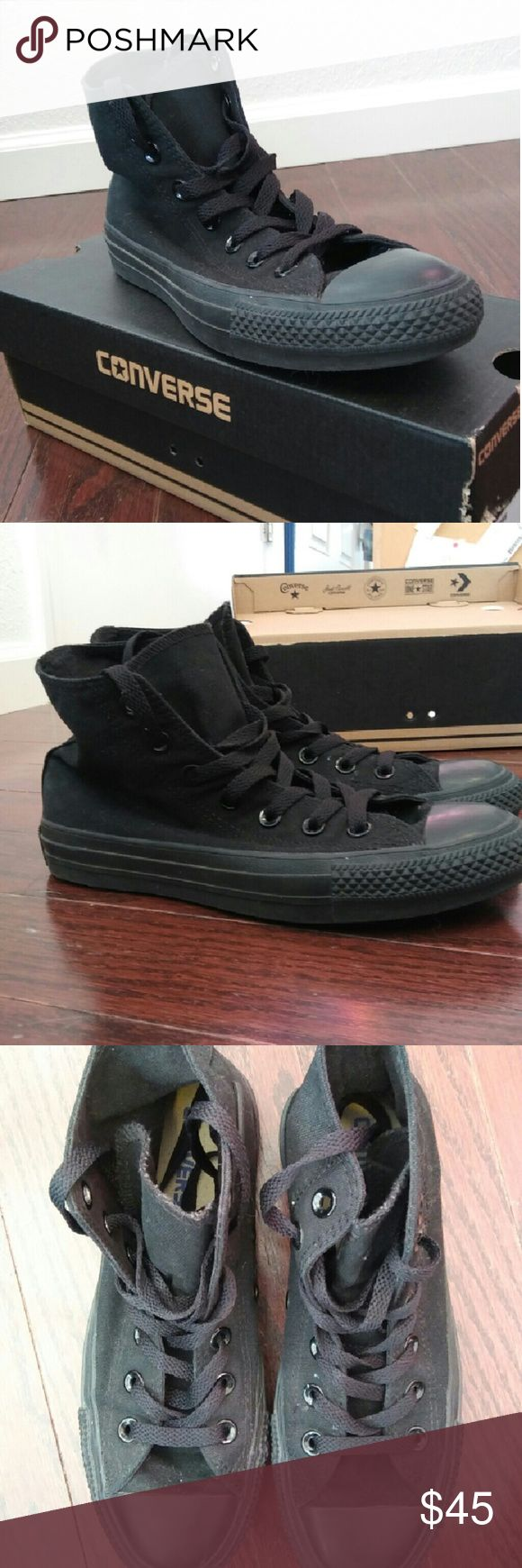 Converse all black high tops Converse all black high tops ~comes with box~ only worn twice~ in great condition Converse Shoes