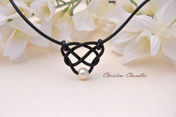 Pearl and Leather Celtic Heart Knot Necklace by Ch…