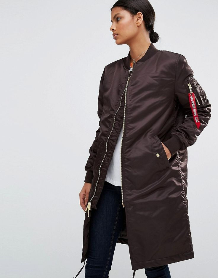 Alpha+industries+MA-1+Longline+Bomber+Coat+with+Gold+Zip