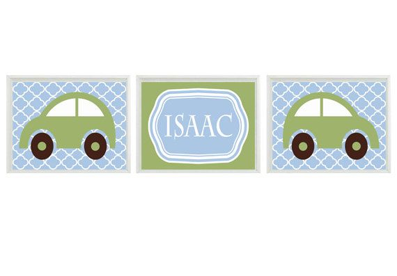 Car Nursery Art -  Name Personalize  - Blue Green Boy Room Transportation Nursery Playroom - Wall Art Home Decor Set 3 8x10 prints