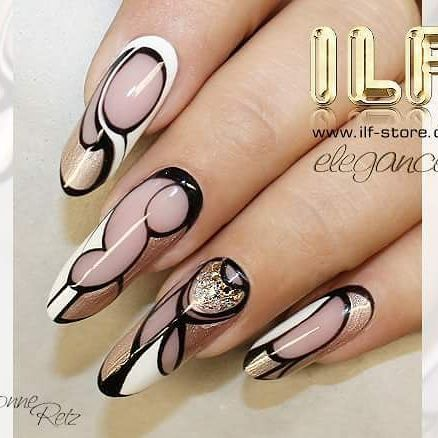 ♡ ILF Cover nude beige, Colourgels Glamour Chifón, Pure Black and Pure White, Sealer GlossBF   www.ilf-store.de  #ivonne_retz #ilfnails #nailart #naildesign #gelpainting #gelnails #nailstagram #instanails #nails2inspire #nails #longnails #nailmaster