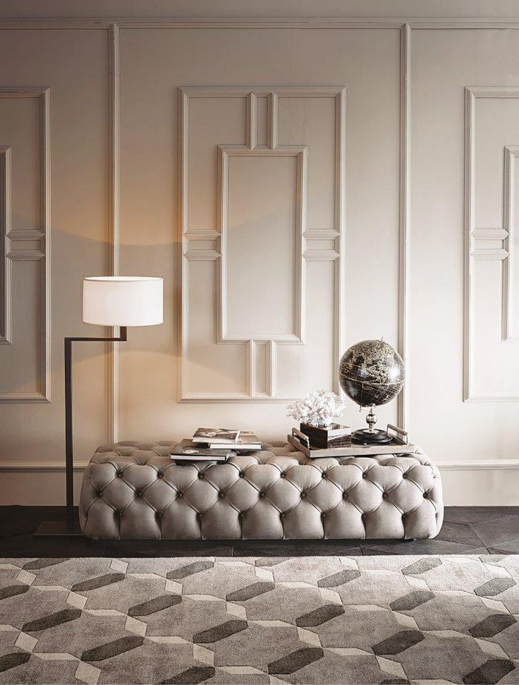 HYATT tufted ottoman design Castello Lagravinese studio JACKIE floor lamp design Massimiliano Raggi