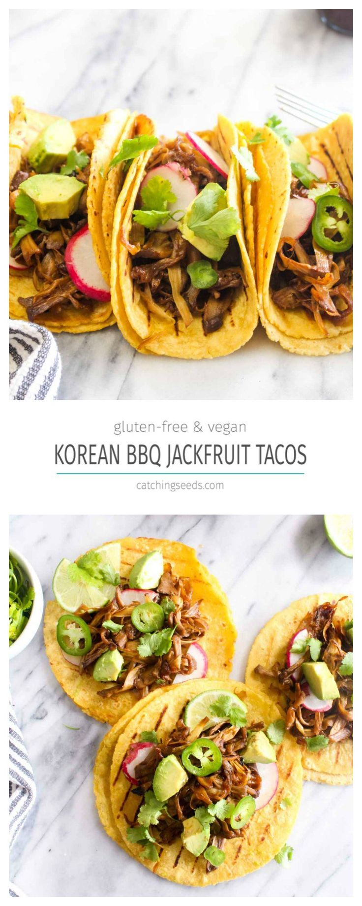 This Korean Barbecue Jackfruit Tacos Recipe is like eating vegan pulled pork! The jackfruit is coated in a sweet and salty Korean barbecue sauce for maximum flavor. | CatchingSeeds.com