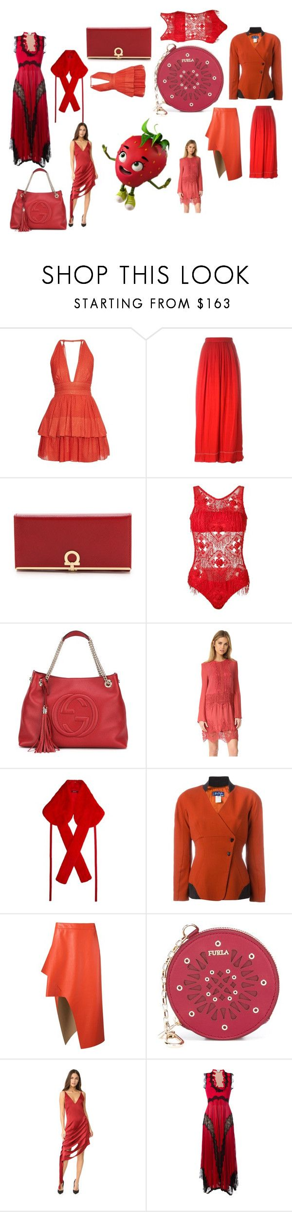 """""""old wine in red bottle¶"""" by racheal-taylor ❤ liked on Polyvore featuring Sophie Theallet, Isabel Marant, Salvatore Ferragamo, Amir Slama, Gucci, The Jetset Diaries, Sies Marjan, Thierry Mugler, Uma 