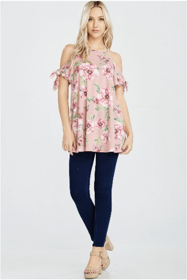 05f68103526807 Cold Shoulder Floral Print Top Rose Design  A cold shoulder floral print top  with a