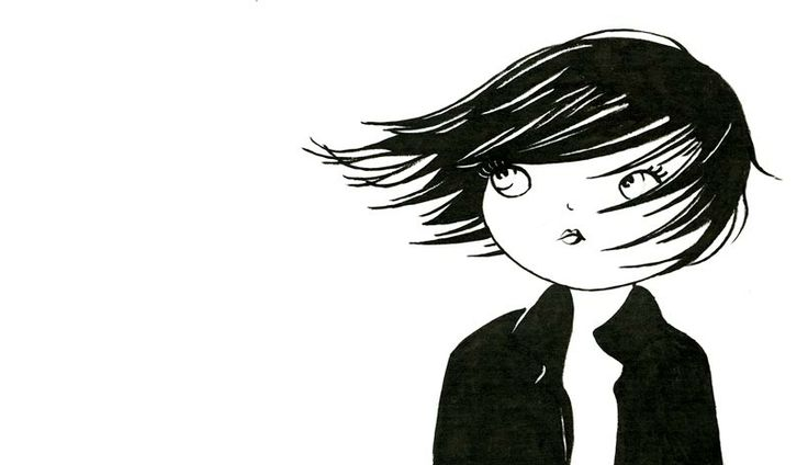 encre de chine, cheveux au vent