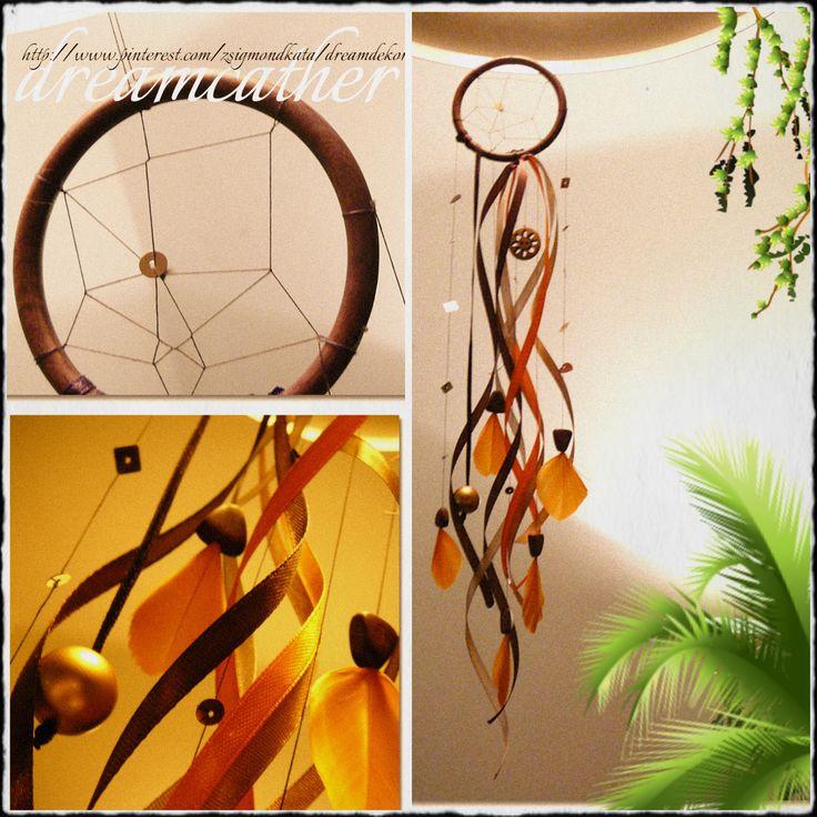Álomcsapda (álomfogó) ♡ narancs és barna, fa karikára fűzve