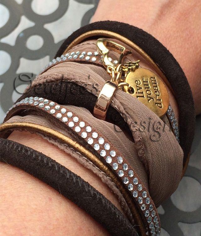 "Wikkel armband leer 4 tinten bruin ""live your dream"""