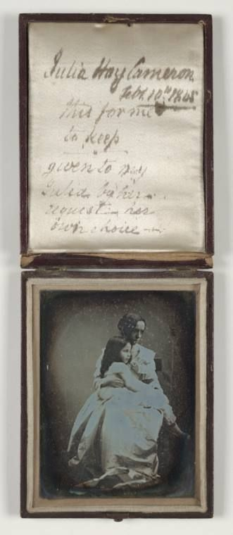A cased daguerreotype portrait of Julia Margaret Cameron (1815-1879) and her daughter, taken by an unknown photographer in 1845.