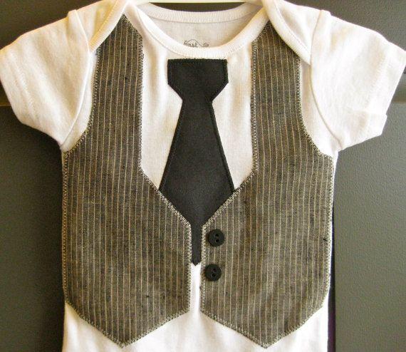 Baby Boy Gray & Black Faux Vest Tie Suit Onesie Bodysuit Long sleeve short sleeve 3 6 9 12 18 24 month