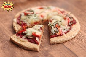 Four Ingredient Protein Pizza Crust Macros for two small pizza crusts I made out of the ingredients above (without the toppings because the toppings are up to you): 269kcals, 28g protein, 26g carbs and 6g fat!
